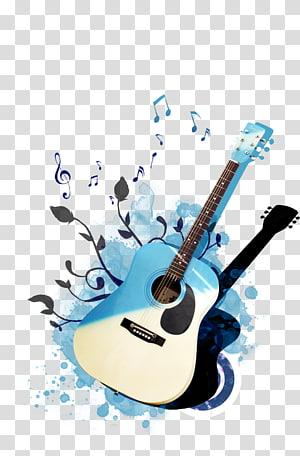 ilustrasi gitar akustik biru dan putih, Poster Gitar, gitar psd png