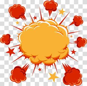 ledakan oranye dan merah, Kartun Komik Ledakan Buku komik, Ledakan Ledakan Awan berlabel bintang png