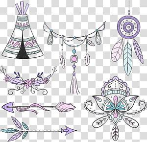 berbagai macam warna, Boho-chic gaya Bohemian Euclidean, elemen gaya Bohemian dicat png