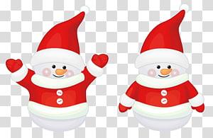 dua ilustrasi manusia salju, Santa Claus Natal rusa, Dekorasi Santa Claus Lucu Merah png
