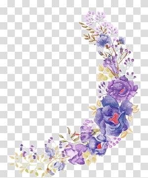 bunga kuning, ungu, dan abu-abu, Bunga bermotif Bunga Ungu, Bunga ungu indah png