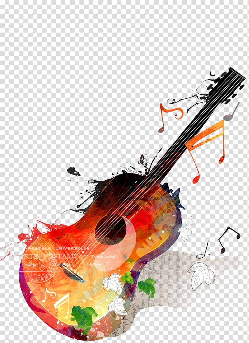 lukisan gitar coklat dan ungu, Musik Gitar, Gitar dan Musik png