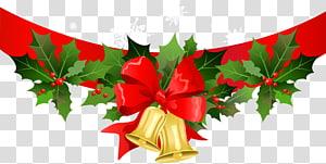 Santa Claus Natal, Spanduk Natal dengan Lonceng Emas, ilustrasi lonceng Natal png
