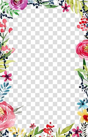 Undangan pernikahan Flower Borders and Frames Template, undangan pernikahan, bunga aneka warna png