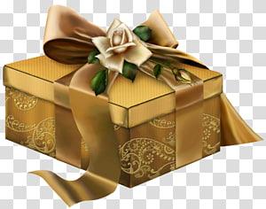 kotak emas persegi panjang dengan pita, Hadiah 3D Emas dengan Mawar png