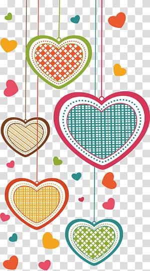 Kartu ucapan Jatuh cinta Kartun, cinta, ilustrasi hati beraneka warna PNG clipart
