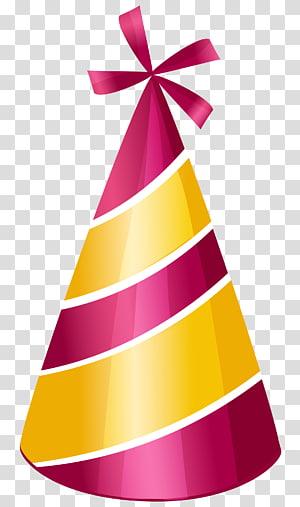 Topi Pesta Ulang Tahun, Topi Pesta, ilustrasi topi kerucut pesta pink dan kuning png