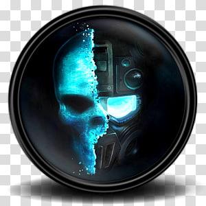 tengkorak tulang komputer, Ghost Recon Future Soldier 2, robot hitam dan biru dan grafis tengkorak PNG clipart