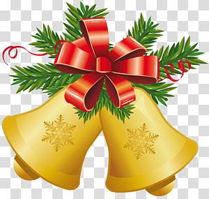 Lonceng Natal coklat, Lonceng Jingle Natal, Lonceng Kuning Natal dengan Red Bow PNG clipart