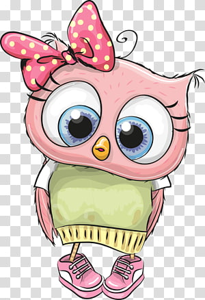 Ilustrasi Kartun Burung Hantu, Burung hantu lucu, burung merah muda yang mengenakan ilustrasi kemeja hijau dan putih png