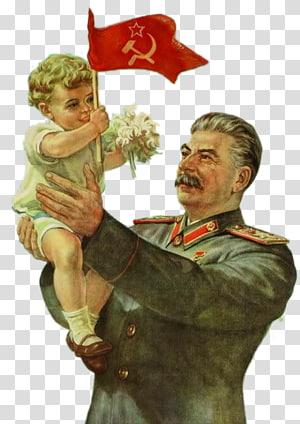 pria yang membawa ilustrasi balita, Joseph Stalin Rencana lima tahun untuk ekonomi nasional Propaganda Uni Soviet di Uni Soviet, Stalin dan bayi memegang bendera merah Soviet png