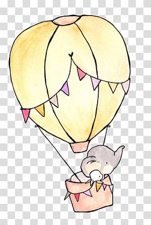 Menggambar Ilustrasi Seni Kelinci Kelinci, balon udara panas, gajah dan mengendarai ilustrasi balon udara panas png