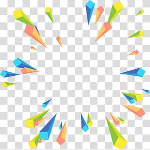 Euclidean Geometry, Perspektif radial abstrak geometris berwarna, ilustrasi hijau, biru, dan kuning PNG clipart