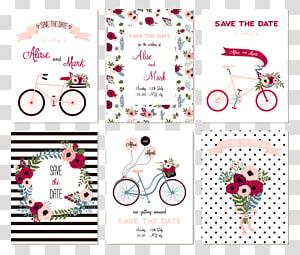 enam kolase template kartu undangan pink-dan-putih, Undangan pernikahan Pernikahan Simpan tanggal, desain undangan Pernikahan png