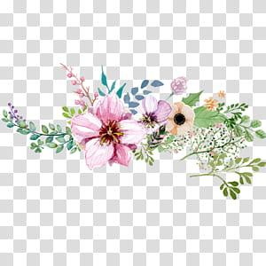 Bunga, Tangan dicat pola dekorasi bunga cat air, pink, ungu, dan coklat lukisan bunga petaled png