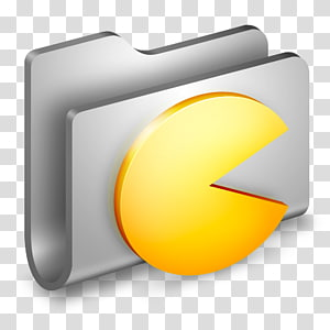 ilustrasi Pacman kuning dan abu-abu, font sudut kuning, Games Metal Folder png
