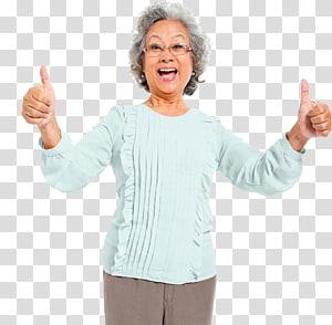 perempuan; atasan biru, ibu jari isyarat jempol, nenek PNG clipart