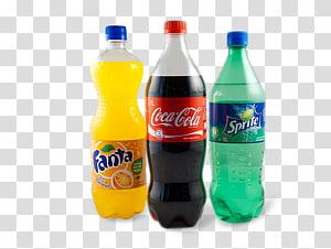 tiga fanta, coca cola, dan botol plastik sprite, minuman bersoda spa fanta coca-cola, fanta PNG clipart
