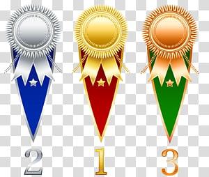 Ilustrasi medali posisi 1, 2, dan 3, Pita Hadiah, Set Hadiah Rosette png