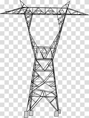 Menggambar Menara transmisi. Transmisi daya listrik. Saluran listrik overhead. Tegangan tinggi, tegangan tinggi png