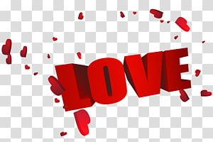 Love, Big Red 3D Love with Hearts, teks cinta png