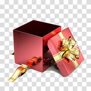 kotak hadiah merah persegi dengan ilustrasi pita kuning, Kotak Hadiah Kertas Hias, Buka kotak hadiah png