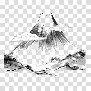 ilustrasi gunung abu-abu dan putih, seni Jepang Lukisan mencuci tinta Lukisan Jepang, Gunung cuci png