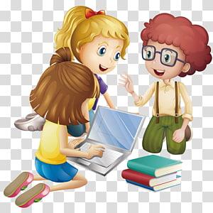 gadis animasi menggunakan laptop, Pendidikan Pembelajaran Kartun Siswa, Murid membahas pembelajaran png