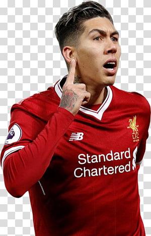 pria berbaju merah New Balance, Roberto Firmino Liverpool F.C.Pemain sepak bola Rendering, Roberto Firmino png