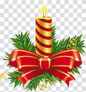 lilin pilar bergaris-garis dengan busur, Lilin Hari Natal, Lilin Merah Natal png