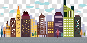 Gedung pencakar langit, gedung kota, ilustrasi gedung tinggi PNG clipart
