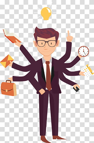 Kewirausahaan Bisnis Kerja, Pengusaha kartun sibuk, ilustrasi pria mengenakan setelan merah anggur dengan banyak tangan png