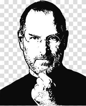 Ilustrasi Steve Jobs hitam putih, Steve Jobs png