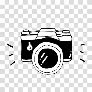 Kamera Kartun Hitam dan putih, Kamera Hitam Soda Suta, sketsa kamera DSLR hitam dan putih png