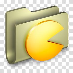 Ikon folder Pac-Man, font kuning sudut, Folder Game png