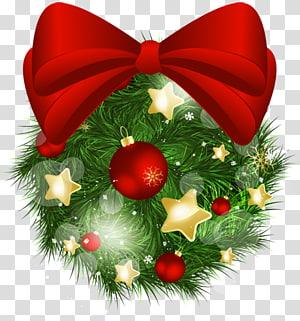 Ilustrasi bertema Natal, ornamen Natal, Christmas Pine Ball with Red Bow PNG clipart