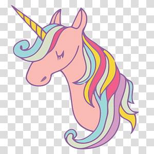 ilustrasi unicorn merah muda dan aneka warna, Ilustrasi Menggambar Unicorn, bahan Unicorn Merah Muda png