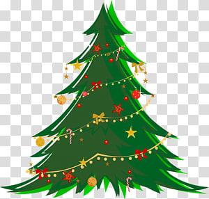 Pohon Natal, Pohon Natal Hijau Besar dengan Ornamen, ilustrasi pohon Natal hijau PNG clipart