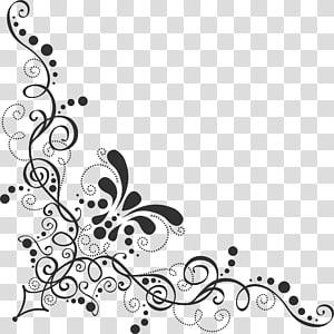 ilustrasi perbatasan bunga abu-abu, ornamen renda barok, sudut pola PNG clipart