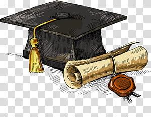 topi hitam dan kertas gulung, Gelar Akademik Mahasiswa, upacara wisuda Universitas Westcliff, elemen Musim Wisuda png