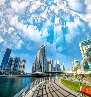 gedung-gedung tinggi, Dubai Marina, pemandangan kota Dubai HD png