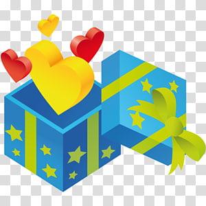 hadiah biru dan hijau, mainan bahan bermain kuning, Hadiah hati png