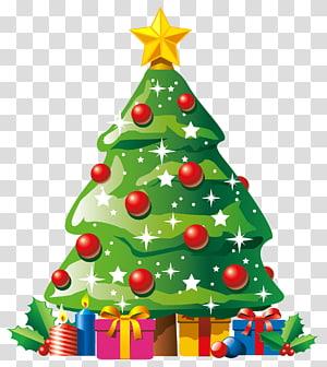pohon natal hijau, hari natal pohon natal, deco pohon natal dengan hadiah PNG clipart