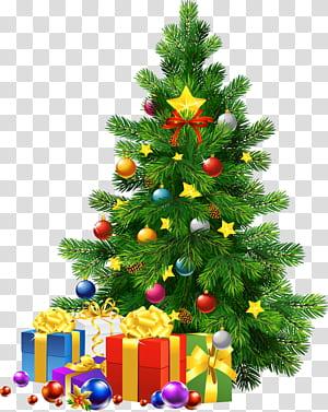 Sinterklas Hari Natal Pohon Natal, Pohon Natal Besar dengan Hadiah, kaos dan hadiah Natal PNG clipart