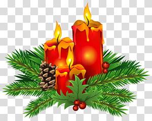 ilustrasi lilin merah dan oranye, Lilin Hari Natal, Lilin Natal PNG clipart