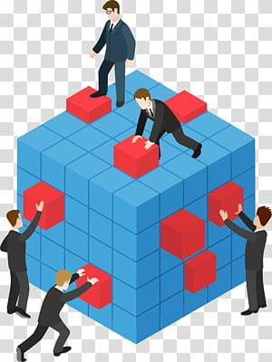 Ilustrasi Teamwork, kerja tim, lima orang bekerja pada kubus PNG clipart