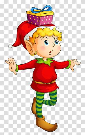 gnome ilustrasi, Rudolph Santa Claus Natal elf, Natal Elf dengan Hadiah PNG clipart