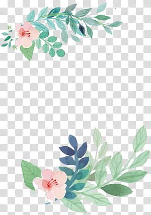Undangan pernikahan Lukisan cat air Bunga, bunga, bunga merah muda dengan lukisan daun hijau png