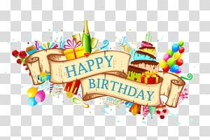 Kartu ucapan kue ulang tahun, bahan latar belakang pita yang indah, ilustrasi selamat ulang tahun png