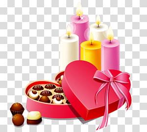 berbagai macam ilustrasi cokelat, Hadiah Valentine, Chocolate, Pink Heart Box of Chocolates and Candles png
